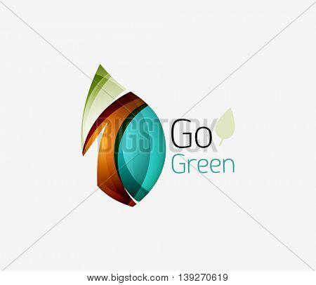 Geometric abstract leaf business logo. illustration