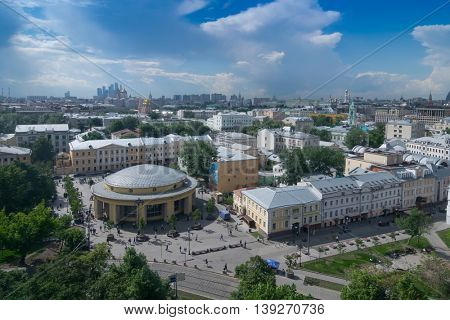 Metro station Novokuznetskaya and panorama of city in Moscow, Russia at sunny day