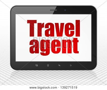 Vacation concept: Tablet Pc Computer with red text Travel Agent on display, 3D rendering