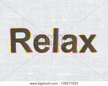Travel concept: CMYK Relax on linen fabric texture background
