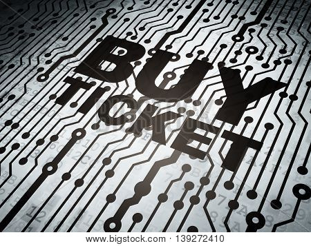 Tourism concept: circuit board with  word Buy Ticket, 3D rendering