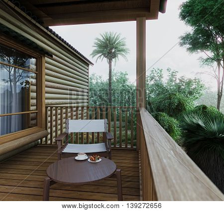 Outdoor balcony deck small guest house vew - vintage filter