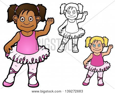 Child in a tutu, taking ballet lessons