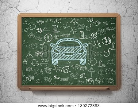 Travel concept: Chalk Blue Car icon on School board background with  Hand Drawn Vacation Icons, 3D Rendering