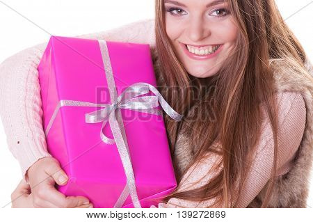 Pretty Woman With Pink Box Gift. Christmas Holiday