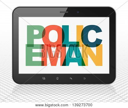 Law concept: Tablet Pc Computer with Painted multicolor text Policeman on display, 3D rendering