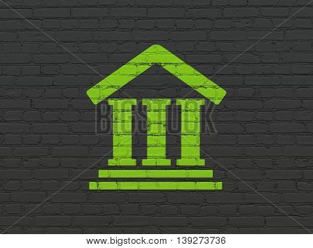 Law concept: Painted green Courthouse icon on Black Brick wall background