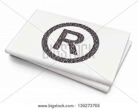 Law concept: Pixelated black Registered icon on Blank Newspaper background, 3D rendering