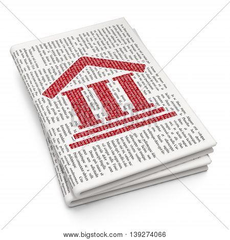 Law concept: Pixelated red Courthouse icon on Newspaper background, 3D rendering