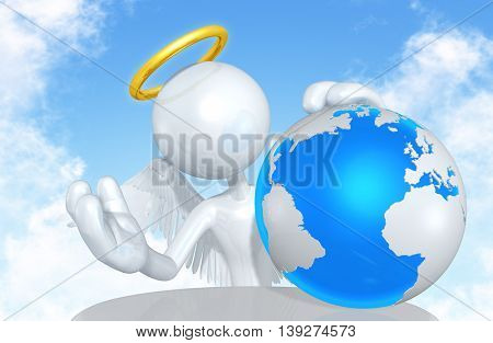 Angel Character With The World 3D Illustration