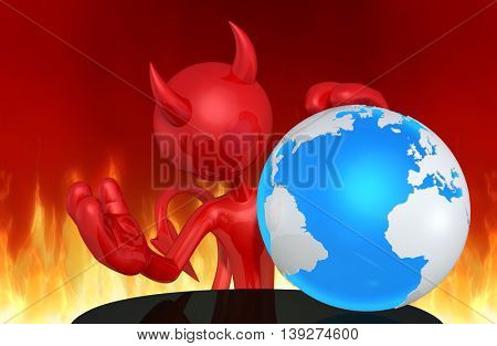Devil Character With The World 3D Illustration