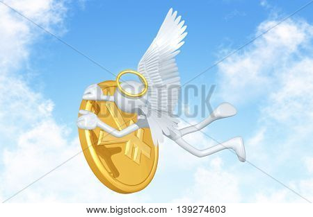 Angel Character With Coin 3D Illustration