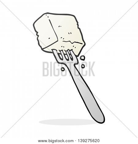 freehand drawn cartoon tofu on fork