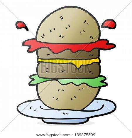 freehand drawn cartoon burger