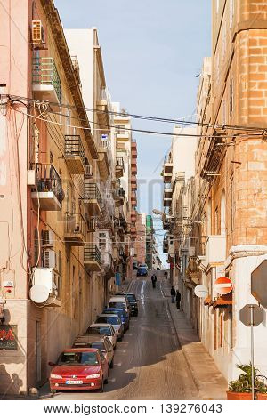 SLIEMA MALTA - February 13 2010. One of narrow streets in Sliema Malta.
