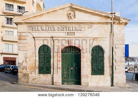 Sea water distilling plant built 1881. Sliema Malta.