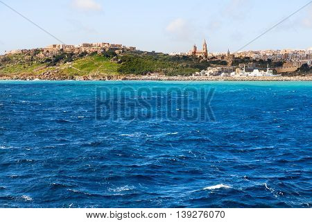 Port of Mgarr on the small island of Gozo Malta. Place for text.