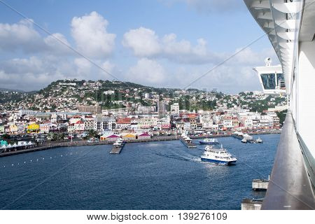 FORT DE FRANCE, MARTINIQUE -NOVEMBER 25, 2015 : Landscape of Fort-de-France, Martinique harbor, cruise ship, ferry boat, and urban district.