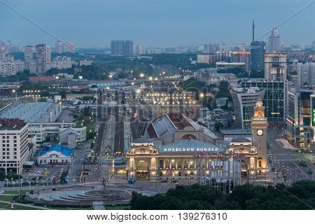 MOSCOW - JUN 11, 2016: Kievsky railway station at night. Russian Railways is among three largest transport companies in world