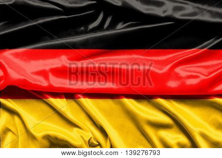 Flag of Germany - fabric background, wallpapers, close-up