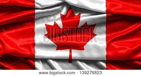 Closeup of rippled Canadian flag - fabric background
