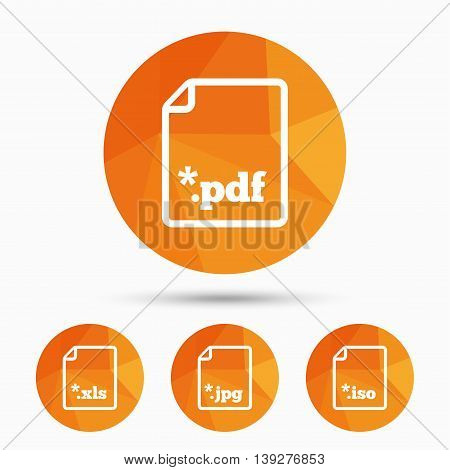 Download document icons. File extensions symbols. PDF, XLS, JPG and ISO virtual drive signs. Triangular low poly buttons with shadow. Vector