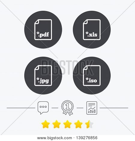 Download document icons. File extensions symbols. PDF, XLS, JPG and ISO virtual drive signs. Chat, award medal and report linear icons. Star vote ranking. Vector