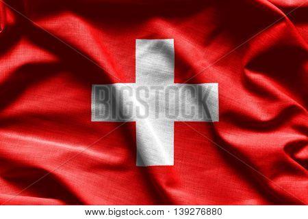 Swiss waving flag - fabric background - high resolution