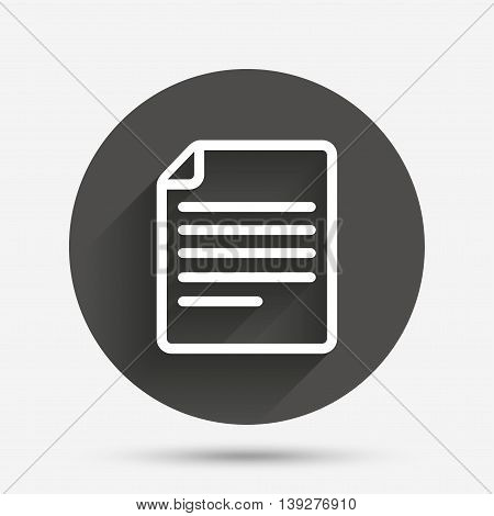 File document icon. Download doc button. Doc file symbol. Circle flat button with shadow. Vector