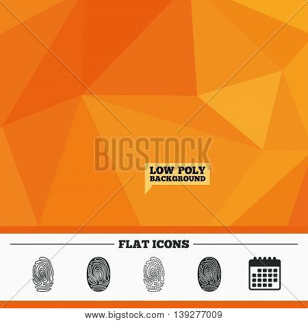 Triangular low poly orange background. Fingerprint icons. Identification or authentication symbols. Biometric human dabs signs. Calendar flat icon. Vector