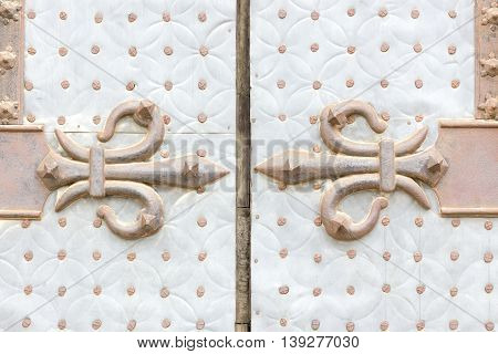 Background image of an old door with a rusty fleur de lis decoration.