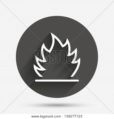 Fire flame sign icon. Heat symbol. Stop fire. Escape from fire. Circle flat button with shadow. Vector