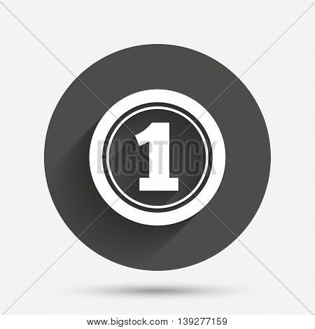 First place award sign. Winner symbol. Circle flat button with shadow. Vector
