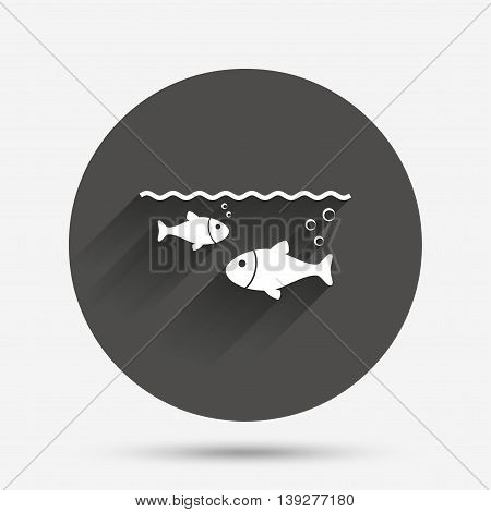 Fish in water sign icon. Fishing symbol. Circle flat button with shadow. Vector