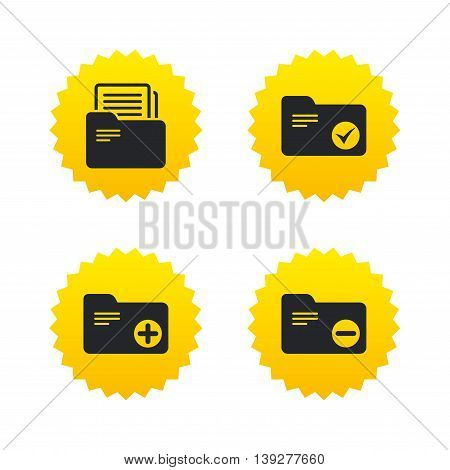 Accounting binders icons. Add or remove document folder symbol. Bookkeeping management with checkbox. Yellow stars labels with flat icons. Vector