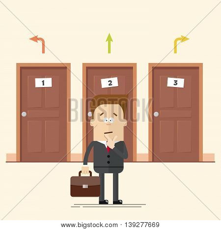 Pensive businessman or manager standing in front of the doors. Select a destination. A man in a business suit. Movement choise. Cartoon flat vector illustration in modern style