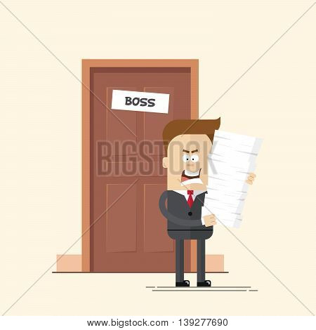 angry businessman or manager with a lot of documents came out of the boss office is going to work. Man unhappy overtime. A man in a business suit with a bunch of papers in his hands. Hard worker