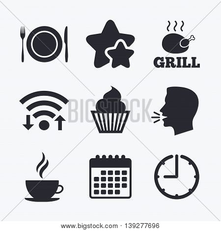 Food and drink icons. Muffin cupcake symbol. Plate dish with fork and knife sign. Hot coffee cup. Wifi internet, favorite stars, calendar and clock. Talking head. Vector