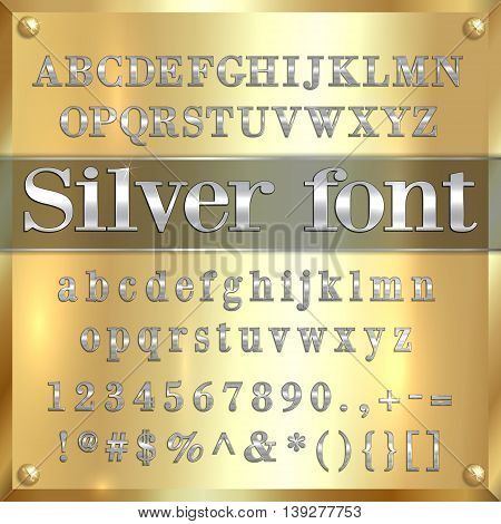 Vector silver coated alphabet letters, digits and punctuation on golden metallic background