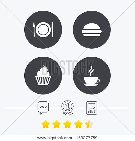 Food and drink icons. Muffin cupcake symbol. Plate dish with fork and knife sign. Hot coffee cup and hamburger. Chat, award medal and report linear icons. Star vote ranking. Vector