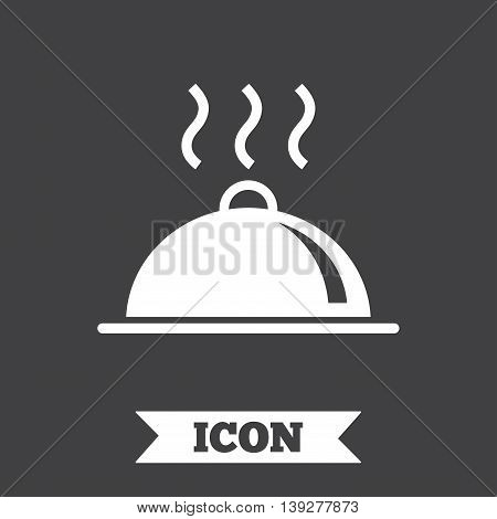 Food platter serving sign icon. Table setting in restaurant symbol. Hot warm meal. Graphic design element. Flat restaurant symbol on dark background. Vector