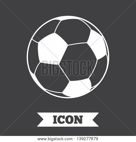 Football ball sign icon. Soccer Sport symbol. Graphic design element. Flat football symbol on dark background. Vector