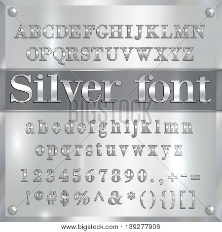 Vector silver coated alphabet letters, digits and punctuation on chrome metallic background