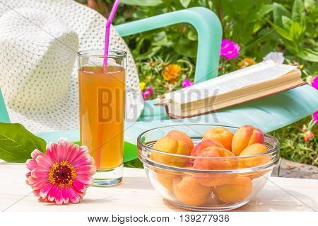 Relax in the flowering garden on a sunny summer day. Red zinnia flower a glass of juice a bowl of yellow ripe apricots on a wooden table in the foreground. In the background is green chaise longue a book and a white hat near blooming flower bed