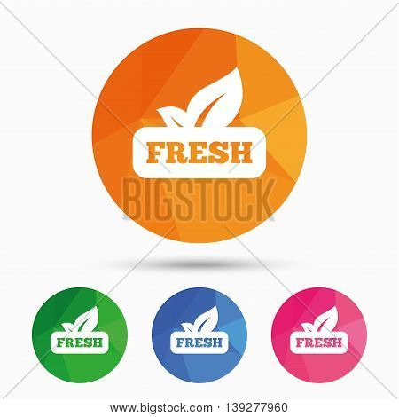 Fresh product sign icon. Leaf symbol. Triangular low poly button with flat icon. Vector