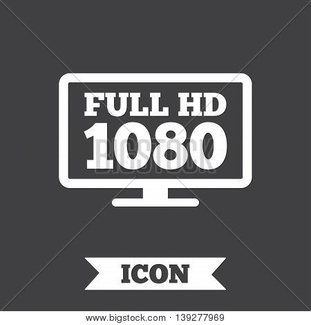 Full hd widescreen tv sign icon. 1080p symbol. Graphic design element. Flat full hd symbol on dark background. Vector