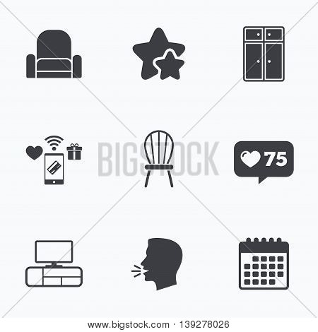 Furniture icons. Cupboard, chair and TV table signs. Modern armchair symbol. Flat talking head, calendar icons. Stars, like counter icons. Vector