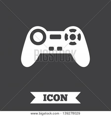 Joystick sign icon. Video game symbol. Graphic design element. Flat game joystick symbol on dark background. Vector