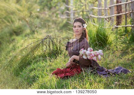 Thai Woman,thai Culture Traditional ,vintage Style