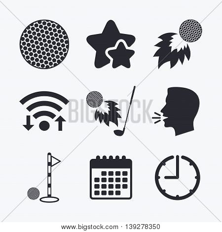 Golf ball icons. Fireball with club sign. Luxury sport symbol. Wifi internet, favorite stars, calendar and clock. Talking head. Vector